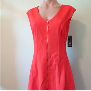 INC Red Zip Up Fit & Flare Dress Women's Size S